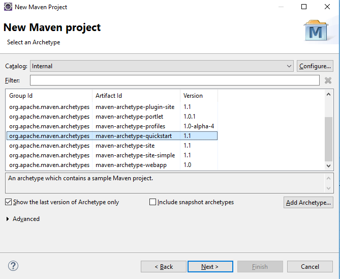 Selecting maven project type