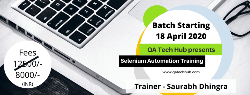 Selenium Batch Starting 18th April 2020